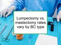 Lumpectomy/ mastectomy rates vary by BC type