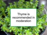 Thyme is recommended for breast cancer in moderation